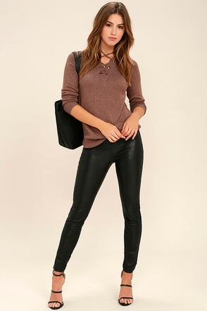 Blank NYC Happy Hour Black Vegan Leather Leggings at Lulus.com!