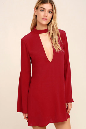 Deeply in Love Dark Red Shift Dress at Lulus.com!