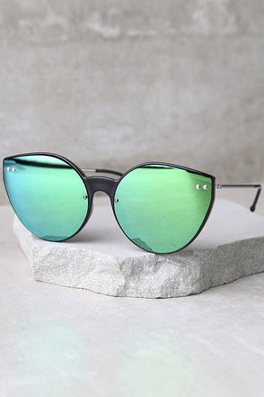 Spitfire Alpha 2 Black and Green Mirrored Sunglasses at Lulus.com!
