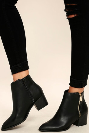 Illusion Black Pointed Ankle Booties 1