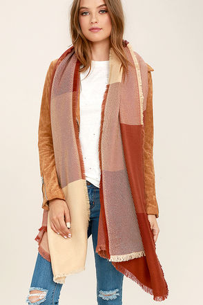 Marina Village Rust Red Plaid Scarf at Lulus.com!