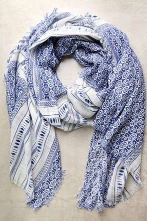 Postcard Collection Blue Print Scarf at Lulus.com!