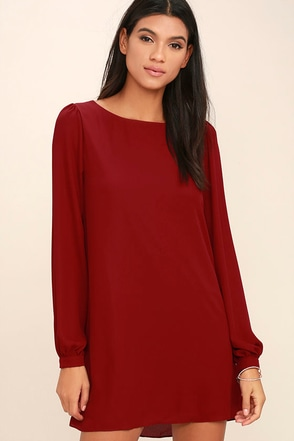 Status Update Wine Red Shift Dress at Lulus.com!