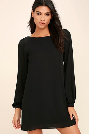 Status Update Black Shift Dress at Lulus.com!