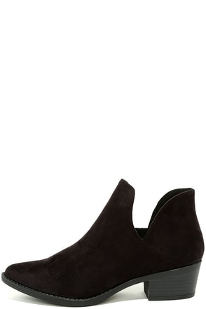 Maggie Black Suede Cutout Ankle Booties at Lulus.com!
