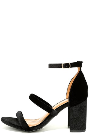 Cadee Black Velvet Dress Sandals at Lulus.com!