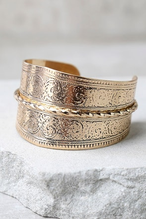 Celebrated Tradition Gold Cuff Bracelet at Lulus.com!