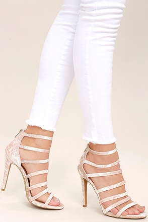Ainsley Blush Velvet Caged Heels at Lulus.com!