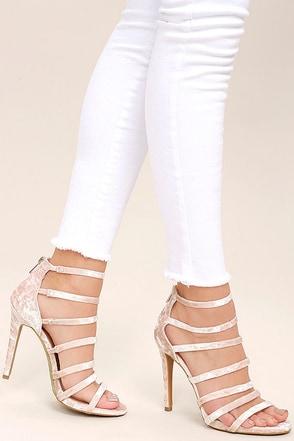 Ainsley Blush Velvet Caged Heels at Lulus.com!