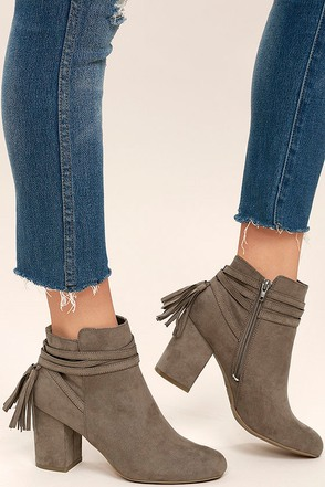 Philipa Taupe Suede Ankle Booties at Lulus.com!