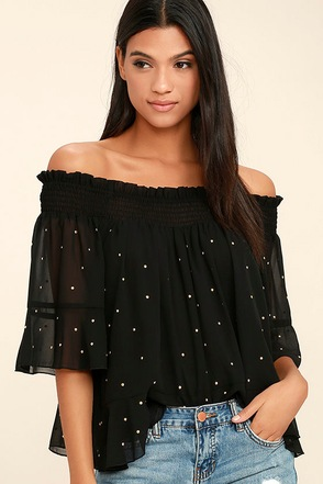 Like You A Lot Black Studded Off-the-Shoulder Top at Lulus.com!