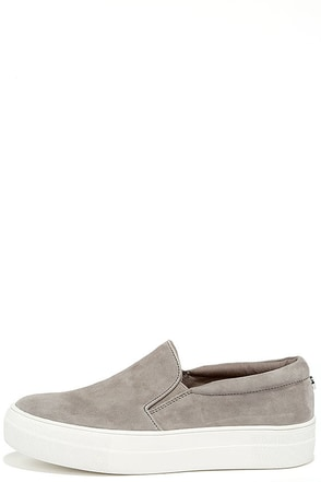 Steve Madden Gills Grey Suede Leather Flatform Sneakers at Lulus.com!