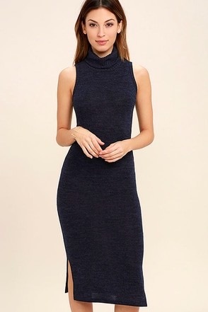 Streets of Paris Navy Blue Bodycon Sweater Dress at Lulus.com!