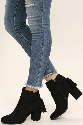 Philipa Black Suede Ankle Booties at Lulus.com!