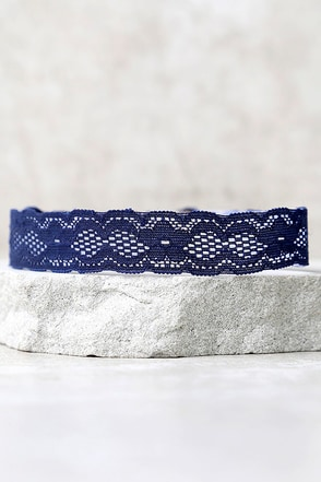 Display of Confection Navy Blue Lace Choker Necklace at Lulus.com!