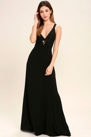 Play That Song Black Lace Maxi Dress at Lulus.com!