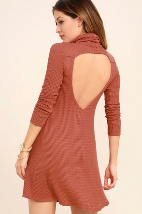 Never Say Goodbye Terra Cotta Backless Swing Dress at Lulus.com!
