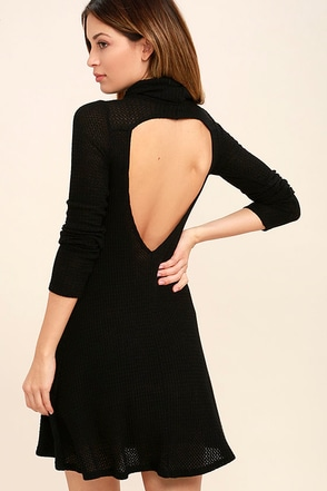 Never Say Goodbye Black Backless Swing Dress at Lulus.com!