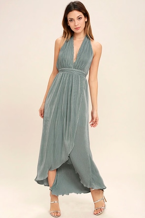 Now You Sea Me Dusty Sage High-Low Halter Dress at Lulus.com!