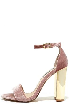 Steve Madden Carrsonv Pink Velvet Ankle Strap Heels at Lulus.com!