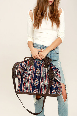 Mount Kilimanjaro Navy Blue Print Weekender at Lulus.com!