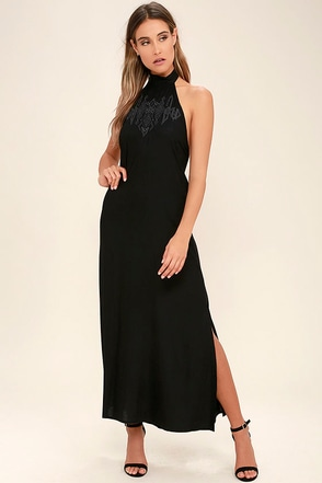 Billabong Wandering Moon Black Embroidered Maxi Dress 1