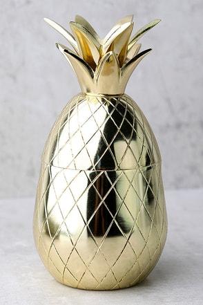 The Pineapple Co. Gold Pineapple Tumbler 1