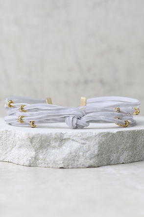 Pretty Little Thing Gold and Grey Velvet Choker Necklace at Lulus.com!