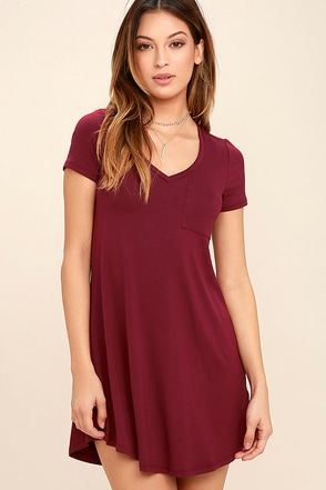 Better Together Wine Red Shirt Dress at Lulus.com!