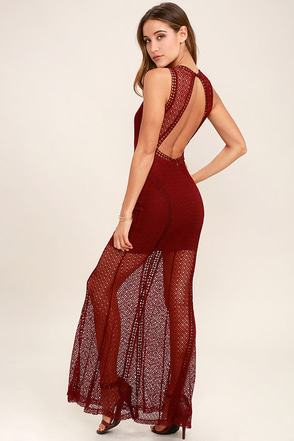 Great Catch Burgundy Mesh Maxi Dress at Lulus.com!