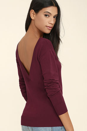 Me Too Wine Red Backless Sweater Top at Lulus.com!