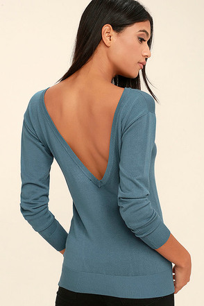 Me Too Slate Blue Backless Sweater Top at Lulus.com!