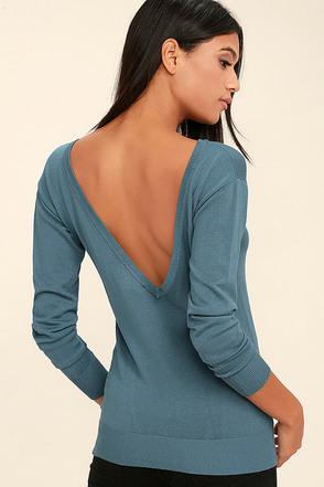 Me Too Slate Blue Backless Sweater Top 1