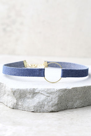 All I Have Gold and Blue Denim Choker Necklace at Lulus.com!