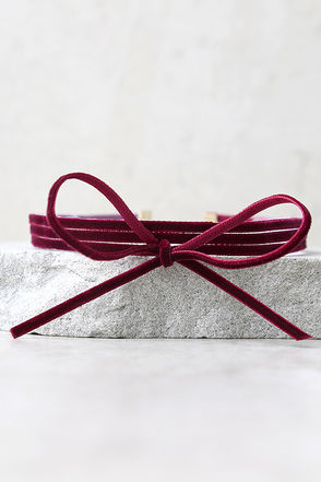 Gifted Burgundy Velvet Layered Choker Necklace at Lulus.com!