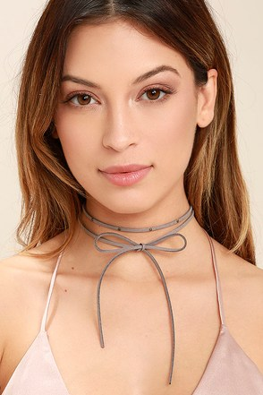 Tied Me Over Grey Wrap Necklace at Lulus.com!
