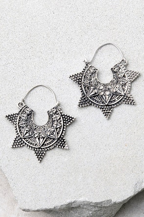 Spiritual Burst Silver Earrings at Lulus.com!