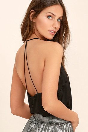 Spark a Fire Black Satin Top at Lulus.com!