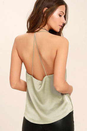 Spark a Fire Sage Green Satin Top at Lulus.com!