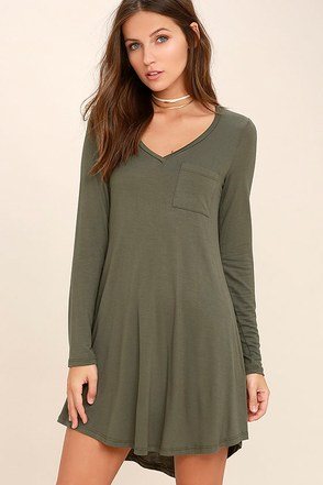 Relaxation Olive Green Long Sleeve Dress at Lulus.com!