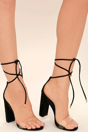 Maricela Black Suede Lace-Up Heels 1