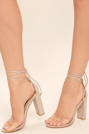 Maricela Natural Suede Lace-Up Heels 1