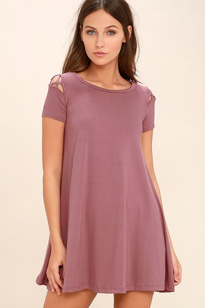 Take Effect Mauve Swing Dress at Lulus.com!