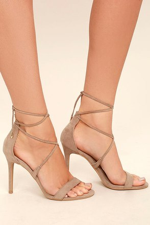 Aimee Taupe Suede Lace-Up Heels 1