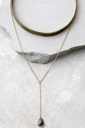 Bewitched Gold and Olive Green Velvet Choker Necklace Set at Lulus.com!