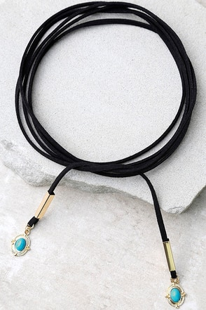 Chasing the Sky Gold and Black Wrap Necklace at Lulus.com!