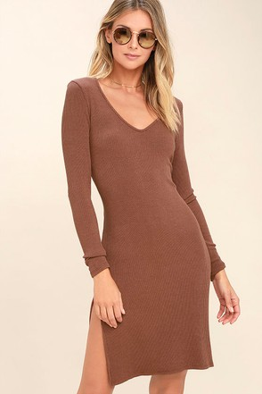 Project Social T Beverly Light Brown Long Sleeve Bodycon Dress 1
