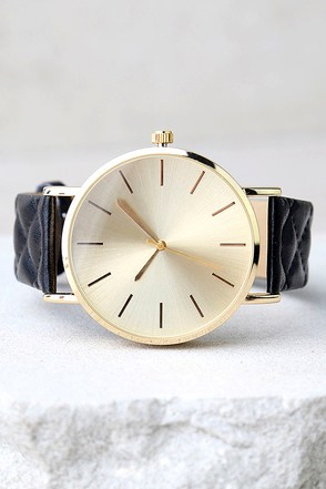 Time Tested Gold and Black Watch at Lulus.com!