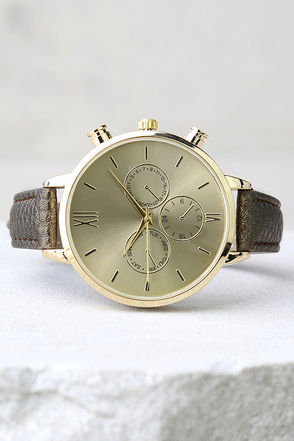 Time to Go Gold and Bronze Leather Watch at Lulus.com!