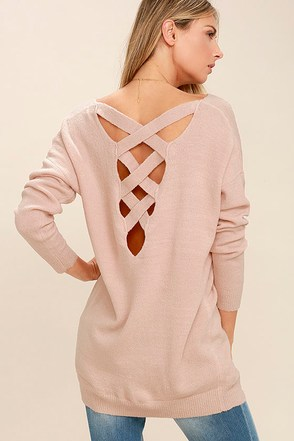 All Time Best Blush Pink Backless Sweater at Lulus.com!